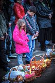 MUKACHEVO - APRIL 15: Easter, unidentified parishioners of the Orthodox Church. Easter Celebration i