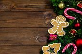 Bright Christmas Or New Year Wooden Background With Fir Branches, Christmas Decorations, Christmas G poster