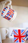 British Union Jack Mugs. Cups With British Flag Print. Union Jack British Flag Cups poster