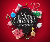 Merry Christmas Vector Banner Template. Merry Christmas Everyone Typography Greeting  In Empty Frame poster