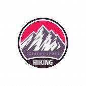 Mountains Hiking Extreme Sport - Concept Badge Design. Climbing Creative Logo. Expedition Outdoors E poster