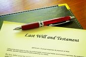 image of deceased  - Last Will and testament document and pen - JPG