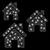 Bright Mesh Village Buildings With Glitter Effect. Abstract Illuminated Model Of Village Buildings I poster