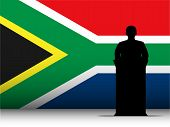 South Africa Speech Tribune Silhouette With Flag Background