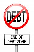pic of debt free  - Illustration depicting a red and white road sign with a debt free concept - JPG