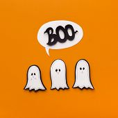Halloween Cute Icon Logo. Family Of Cute Paper Ghosts Saying Boo On Orange Background poster