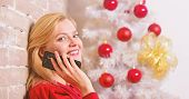 Christmas Wishes Concept. Woman Pretty Peaceful Dreamy Face Hold Smartphone Enjoy Mobile Phone Conve poster