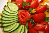 picture of risque  - Tomatoes cucumbers and pepper for salad  - JPG