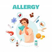 Allergy Concept With Symptoms Treatment And Common Allergens Symbols Cartoon Vector Illustration poster