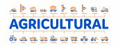 Agricultural Vehicles Minimal Infographic Web Banner Vector. Agricultural Transport, Harvesting Mach poster