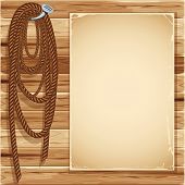 Vintage background with blank page and  hemp rope