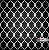 Metal fence on a dark background. No gradient mesh. Only contours.