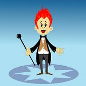 cartoon illustration of a circus announcer