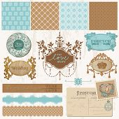 Scrapbook design elements - Vintage Wedding Set - in vector