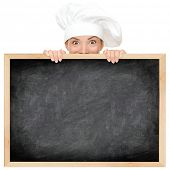 pic of chinese menu  - Chef showing restaurant menu blackboard  - JPG