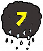 cartoon raincloud number seven