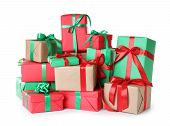 Different Christmas Gift Boxes On White Background poster