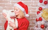 Receive Teddy Bear As Gift. Wish You Merry Christmas. Top List Best Gifts For Family. Cute And Tende poster