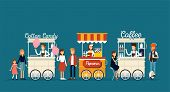 Creative Detailed Vector Street Coffee Cart, Popcorn And Cotton Candy Shop With Sellers. Young Peopl poster