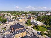 Waltham City Hall And Downtown With Boston Skyline At The Background Aerial View In Downtown Waltham poster
