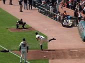 Giants Matt Cain Throws Pitch To Catcher Buster Posey During Bullpen Warm-up Session