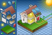 Isometric house with solar panel in production of energy from the sun