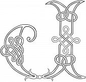 Celtic Knot-work Letter J Outline