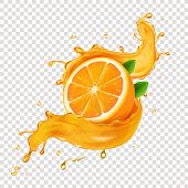 Juicy Orange Fruit In Realistic Orange Juice Splash poster