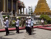 Bangkok - March 28: Soldiers Prepare For The Royal Of Cremation Ceremony
