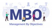 Mbo Management By Objectives Concept With Big Word Or Text And Team People With Modern Flat Style -  poster