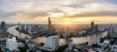 Landscape Of Chao Phraya River In Bangkok City In Evening Time With Bird View. Bangkok City At Night poster