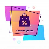 Purple Shoping Bag With An Inscription Percent Discount Icon Isolated On White Background. Handbag S poster