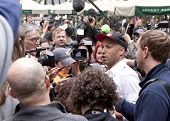 NEW YORK - MAY 1: Rage Against The Machine guitarist Tom Morello speaks to the media about the Occup