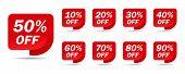 Discount Sale Off Tag, 50, 20, 10, 40, 30, 60, 70, 80, 90 Percent.set Sale Offer Emblem, Badge Price poster