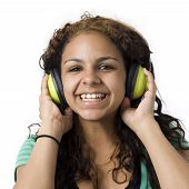 Girl With Green Headphones
