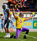 VIENNA, AUSTRIA - APRIL 17 WR Timothee Bach (#5 Vikings) celebrates the victory on April 17, 2011 in