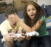 Teen Couple Play Videogames