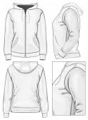 Vector. Women's hooded sweatshirt with zipper (back, front and side view)