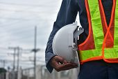 Engineer Holding Hard Hat Safety At Work Place And Building Development Estate Heavy Architecture Co poster