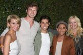 LOS ANGELES - MAY 1:  Chelsea Kane, Derek Theler, Jean-Luc Bilodeau, Tahj Mowry, Melissa Peterman arrives at the ABC Family West Coast Upfronts at The Sayers Club on May 1, 2012 in Los Angeles, CA