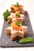 festive canape with foie gras and salmon on gingerbread toast poster