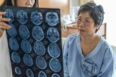 Brain Disease Diagnosis With Medical Doctor Diagnosing Elderly Ageing Patient Neurodegenerative Illn poster