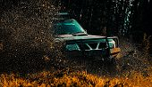 Mud And Water Splash In Off-road Racing. Drag Racing Car Burns Rubber. Extreme. Off-road Car. Tracks poster