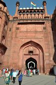 The Gates Of The Massive Red Fort In Delhi, India