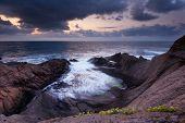 Seascape During Sunrise. Beautiful Natural Seascape. Sea Sunrise At The Black Sea Coast. Magnificent poster