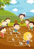 foto of hopscotch  - Illustration of kids playing hopscotch in a playground - JPG
