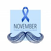 Prostate Cancer Awareness Ribbon With Moustaches. Men Health Symbol. Men Cancer Prevention In Novemb poster