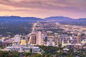 Salt Lake City, Utah, USA downtown city skyline at dusk. poster