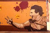 Graffiti In Honor Lionel Messi In Barcelona