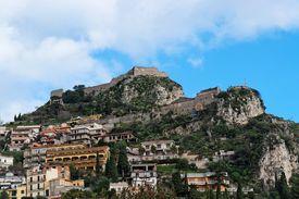 picture of saracen  - Monte Tauro with Saracen Castle and Santuario Madonna della Rocca above Taormina in Sicily - JPG